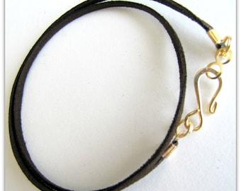 25 to 40 inch Dark Brown Necklace Cord, Espresso Brown Necklace cord,  Faux Suede Cord, Designer Gold  plated Hook  Clasp,  Custom