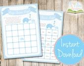 INSTANT DOWNLOAD - Baby Bingo - Blue Elephants