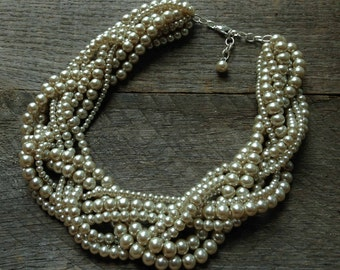 Champagne Pearl Necklace Braided Cluster on Silver or Gold Chain