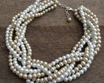 SUMMER SALE Champagne White Pearl Necklace Braided Cluster on Silver or Gold Chain