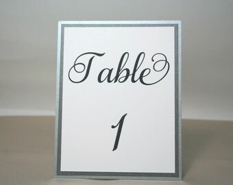Set of 10 Silver Shimmer Wedding Table Numbers / Tented Table Numbers