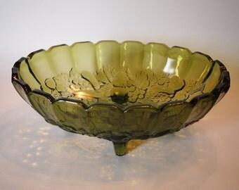 Avocado Glass Footed Fruit Bowl Indiana Glass Centerpiece