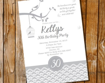 Gray Birds Birthday Invitation - 16th 20th 25th 30th 40th 50th 60th birthday invitation - Instant Download & Edit File - Print at Home!