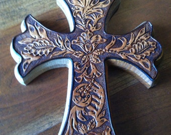 Beautiful western Hand Tooled Leather on Wooden Cross