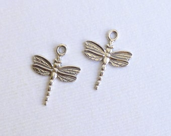 Sterling Silver Dragonfly Charms -- 2 Pieces --  Insect Bug Pendants