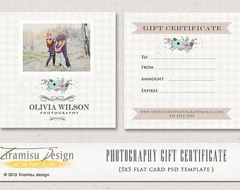 Photography Gift Certificate photoshop 5x5 card template - INSTANT DOWNLOAD-sku2-1
