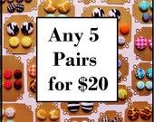 5 Button Earrings for 20 - Fabric Button Earrings - Stud Earrings - Hypoallergenic Earrings