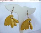 CIJ Sale Vintage Yellow Wood Pierced Earrings - Tropical Bananas & Leaf