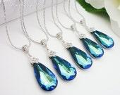 10% OFF SET of 5 Bridesmaid Gift Wedding Jewelry Bridal Bridesmaid Jewelry Bermuda Blue Swarovski Crystal Tear Drop Necklace Peacock Jewelry