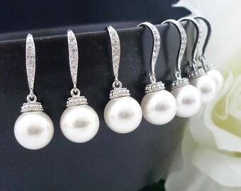 15% OFF SET of 6 Bridesmaid Gift Wedding Jewelry Bridesmaid Jewlery Bridal Pearl Earrings White OR Cream Swarovski Round Pearl Drop Earrings