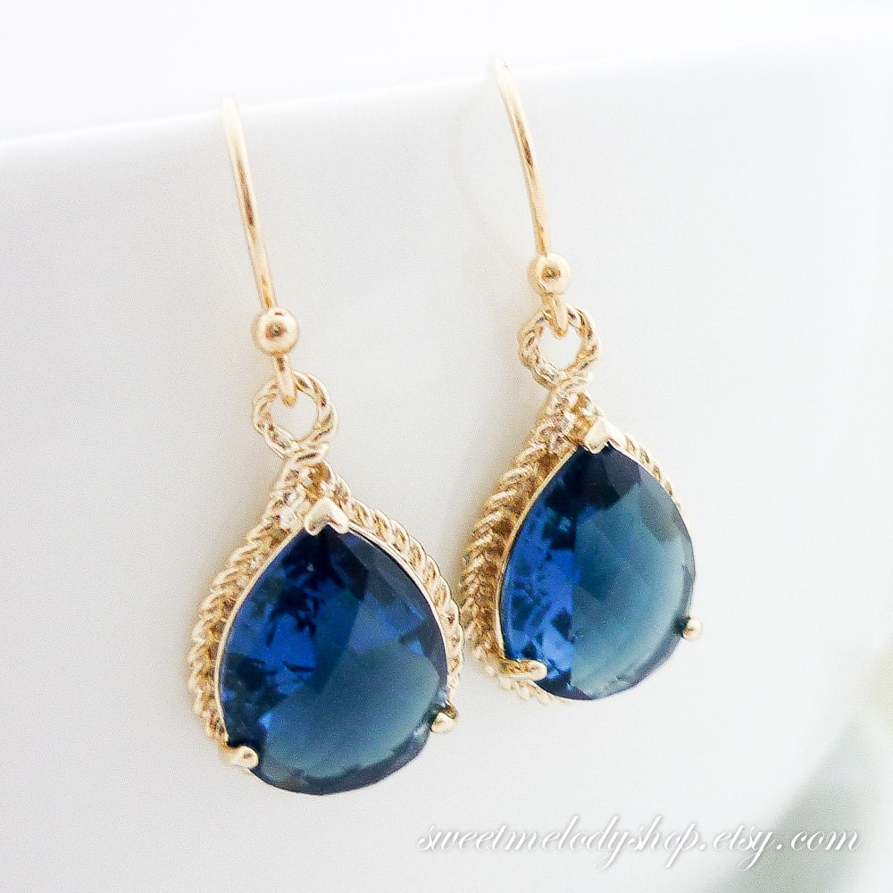 Sapphire Tear Drop Gold Dangle Earrings Sapphire Gold Trimmed