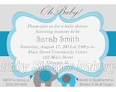 Boy Elephant Baby Shower Invitation, Elephant Theme Shower Invitation, Printable Elephant Invite for Baby Boy, Blue Elephant Baby Shower
