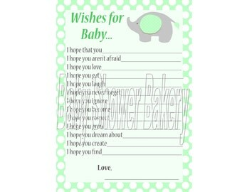 Green Elephant Baby Shower Game, Wishes for Baby, Elephant Theme Baby Shower Game, Gender Neutral Elephant Baby Shower Game, Baby Wishes