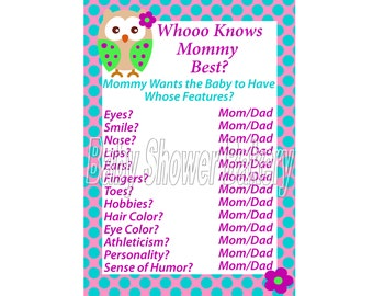 Pink Purple and Turquoise Owl Baby Shower Game, Printable Owl Theme Baby Shower Game, Who Knows Mommy Best, Girl Owl Baby Shower Download