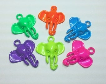 1PC Neon Painted Vintage Style Elephant Pendant - You Choose Color