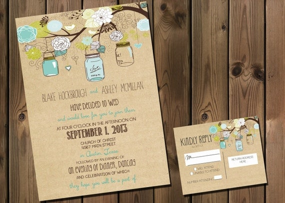 Cheap Wedding Invitations Packages: Rustic Wedding Invitation Package With Flowers By