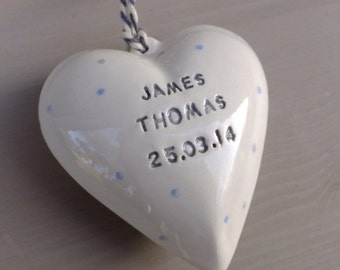 Personalised baby boy heart, personalized christening baptism baby naming gift present ceramic heart, playroom nursery decor