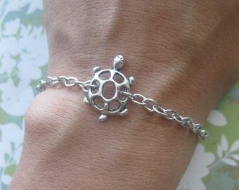 Turtle Bracelet - Silver Turtle Charm