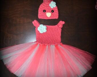 Crochet Easter Chick Baby Tulle Tutu Dress & Matching Hat Photo Prop Custom Made Boy Girl Costume