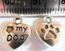 35pcs Silver Paw Heart Charms LOVE MY DOG Hearts I Love Dogs Pets Lead Free & Nickel Free Antique Tibetan Silver 10x13mm Dog tags Paw prints