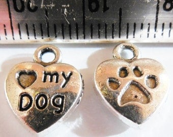 70pcs Silver LOVE MY DOG charms Paw Print Hearts Lead Free Nickel Free Antique Tibetan Silver 10x13mm Pets, Dogs, Paws, Dog Tags