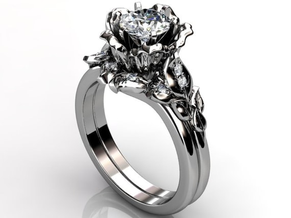 platinum unique flower engagement ring by