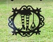 Halloween Garden Plexiglass flag - Witch's feet with broom