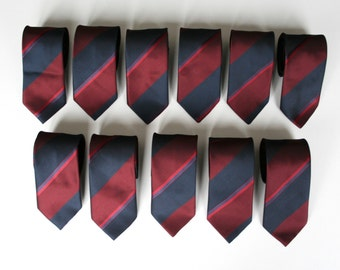 Striped skinny neckties, 80's vintage, washable blue red and oxblood/burgundy neckties, more available