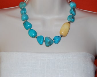 Butterscotch Yellow and Turquoise Statement Necklace Chunky Beaded Necklace Bold