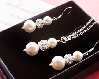 50% OFF SALE Bridesmaids gift, Bridal Set - Pearl Jewelry set with Necklace and Earrings