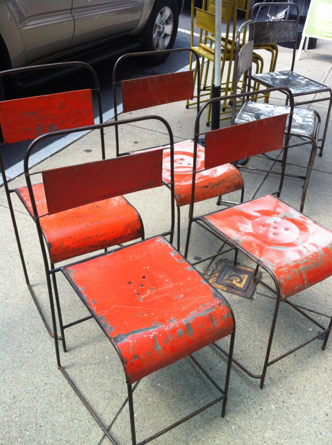 Hold Vintage Metal Stacking Industrial Chairs Old Orange Paint