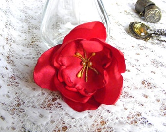 Red flower Quinceañera or bridal,  head piece, Christmas party, barrette, flower girl