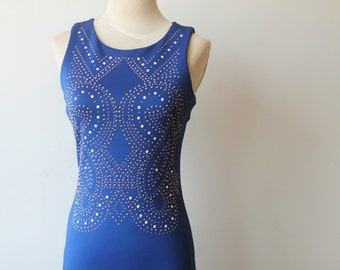 Blue Tank Dress, Blue Party Dress, Studded Dress