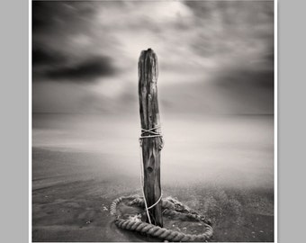 Black And White Beach Photography, One Pole, Pinhole Photo, Fine Art Photo