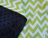 29x35 Remix Lime Green and White Chevron 100% Cotton with Navy Blue Minky Dot Blanket Gender Neutral  Ready to Ship