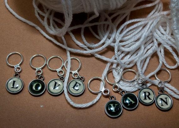 Type Writer Inspired Love&Yarn Stitch Marker Set (Set of 8)