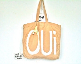CUSTOM OUI Yes Statement Tote French Large Shoulder Eco Tote Bag / Eve Damon
