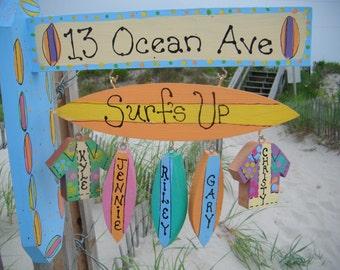 Surfboard Beach Sign