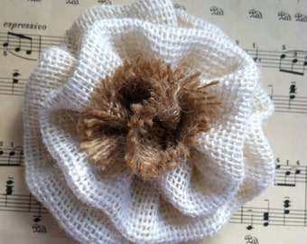 Ivory burlap flower
