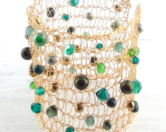 Gold Cuff Bracelet, Knitted Gold Wire, Green Swarovski Crystals, Pearls and Gemstone Beads
