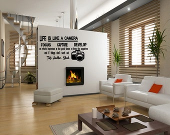 Wall Quotes Life is like a camera Vinyl Wall Decal Quote Removable Wall Sticker Home Decor Sayings Decor Art Decals  (T80)