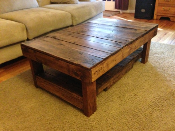 Rustic handmade coffee table by wolvesandbears on etsy Handcrafted coffee table