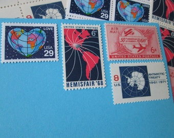 World Traveler ... Unused Vintage Postage Stamps ... Enough to Mail 5 letters