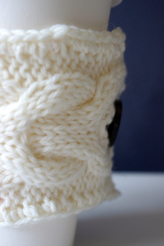 Hand Knitted Coffee/Tea Mug Cozy . Cup Warmer . by GreenDesignsCS