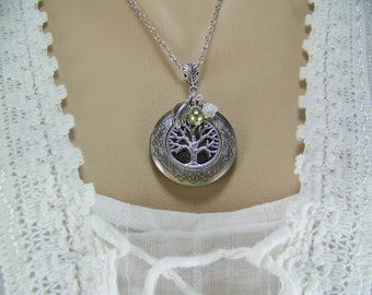 Tree of Life Locket, Olive Swarovski Pearl, White Czech Flower Charm, Silver Tree Locket, Keepsake Locket, Photo Locket, Family Tree