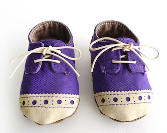 Baby Shoes Boy or Girl Purple Canvas with Brogued Leather Soft Sole Shoes Oxford Wingtips Wing tips