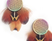 Flower of Life Post Earrings with Pheasant Feathers