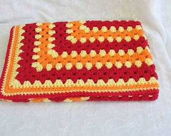 Heirloom Granny Square Baby Boy Blanket crocheted with 100% Cotton Yarn~Baby Blanket