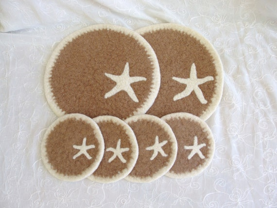 Wool Felted Coasters and Two matching Trivets with Starfish Needle Felted Design  RESERVED
