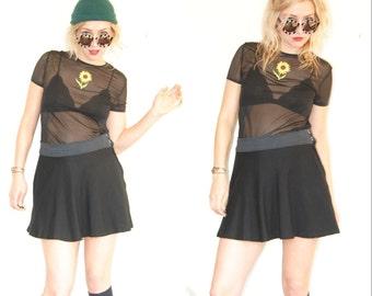 90s Black Sheer Blouse / Sheer Shirt / Flower Print / Sunflower Shirt / 90s Grundge Shirt / Size Small